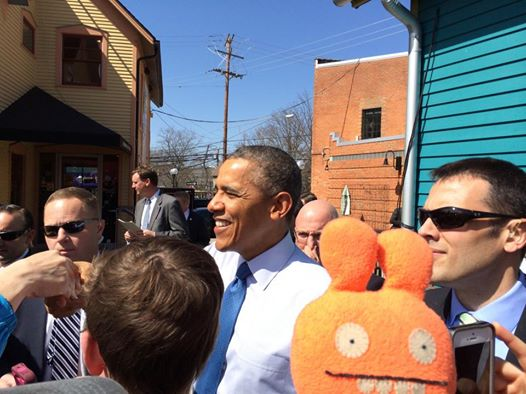 President Obama at Zingermans-  courtesy of Bob Nadelberg and Plunko